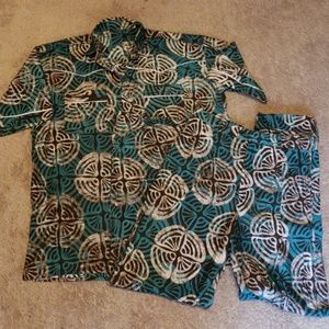 African Print 2pc Co-ord Pantsuit Top L B- W 30in